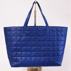 Celine Quilted Horizontal Cabas Tote Royal Blue
